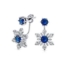 earring jackets 925 sterling silver blue glass cz flower earring jackets