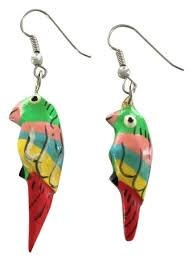 trendy earrings parrot earrings tropical earrings bird earrings dangle earrings