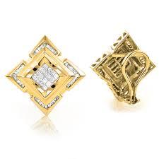 men diamond earrings 14k gold mens diamond earrings 1 21ct