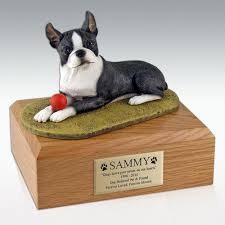 boston cremation terrier dog figurine pet cremation urn