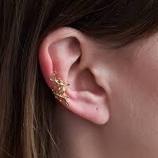 ear cuffs ireland sterling silver leaf ear cuff in gold vermeil by dose of