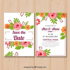 wedding invitations freepik flat wedding invitation with roses vector free