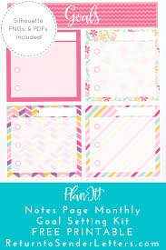 printable planner notes free planit eclp notes page monthly goal planning kit free