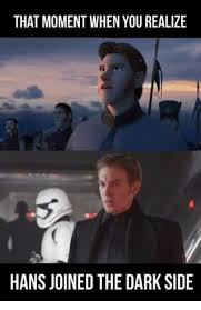 Side By Side Meme - that moment when you realize hans joined the dark side meme on me me