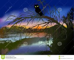 halloween owl silhouette dark scary halloween landscape with creek silhouette of tree and