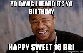 Sweet 16 Meme - yo dawg i heard its yo birthday happy sweet 16 bri yo dawg