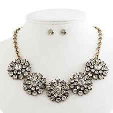 crystal vintage necklace images Antique gold and crystal vintage necklace earrings set kc jpg