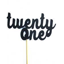 21 cake topper twenty one glitter cake topper