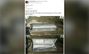 coffin for sale posts ad trying to sell a slightly used coffin ny