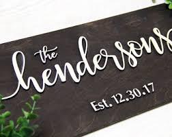 wedding gift name sign last name sign etsy
