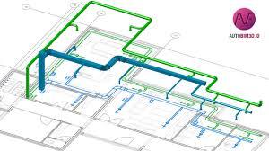 hvac floor plan autobim3d integrating hvac networks into a bim model youtube