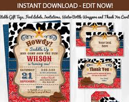 cowboy birthday labels western printable food labels