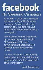 Meme Pics For Facebook - fact check has facebook launched a no swearing caign