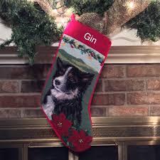 border collie needlepoint dog christmas stocking personalized