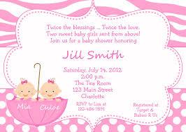 Baby Shower Invitation Card Sample Twin Baby Shower Invitations Kawaiitheo Com