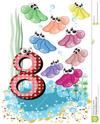 sea animals and numbers series for kids 8 shells royalty free