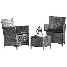 High Quality Patio Furniture 3 Piece Grey Rattan Set High Quality Wicker Garden Set