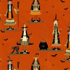 Fabric Halloween by Orange Witch Fabric Witchy Studio E Witchy Fabric Halloween Fabric