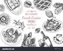 vector illustration sketch french cuisine card menu stock vector
