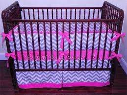 Pink Chevron Crib Bedding Custom Crib Bedding Abbie Gray And White Babybedding