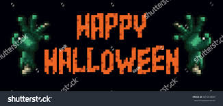 Happy Halloween Banner by Happy Halloween Pixel Banner Zombie Hand Stock Vector 501073804