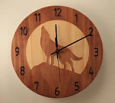 pine wolf clock wood clock wall clock nature clock wooden wall