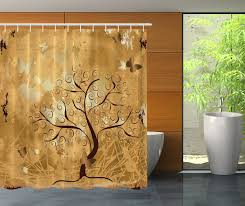 Brown Floral Shower Curtain Fabric Shower Curtain Diy Striped Curtain Simple Sink Corner Beige