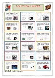 Esl Vocabulary Worksheets Transport And Travelling Vocabulary Quiz English Pinterest