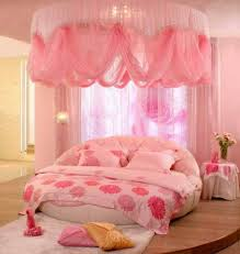 bedroom with canopy fabrics and round bed stylish and