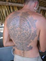 upper back coverup with aztec mask tattoo for men tattooshunter com