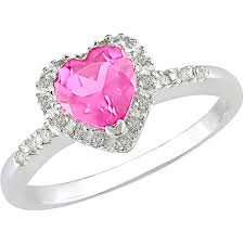 Silver Accessories Tangelo 7 8 Carat T G W Pink Sapphire And Diamond Accent Sterling