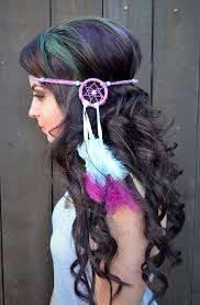 feather headbands cool dreamcatcher feather headband purple blue feather