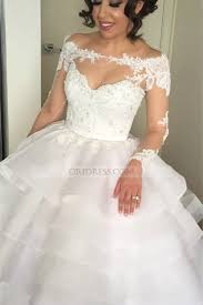 ballgown wedding dresses tulle the shoulder chapel white sleeve gown