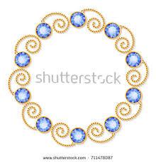 decorative frame golden chains gemstones luxury stock vector