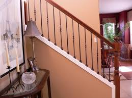 Iron Banisters Oil Rubbed Wrought Iron Balusters Restained Post U0026 Handrail