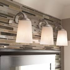 Lowes Light Fixtures Bathroom Shop Kichler Lighting 3 Light Oxby Brushed Nickel Bathroom Vanity
