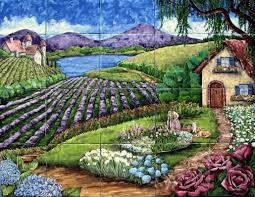 hand painted floral tile murals ceramic backsplash flower garden tile mural wheelbarrow with flowers gardening landscape