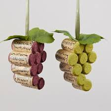 cork grape cluster ornaments these would be pretty hanging in a