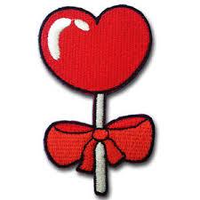heart lollipop heart lollipop patch iron on rockabilly candy retro toffee