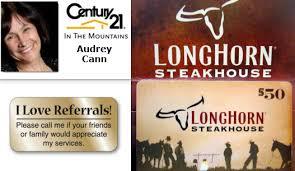 longhorn gift cards 50 longhorn gift card for real estate referrals ellijay deals