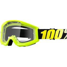 100 percent motocross goggles strata neon yellow clear motocross goggles