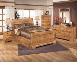 Pine Bed Set Sleigh Bedroom Set With Underbed Storage In Pine Grain