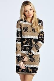 fair isle sweater dress boohoo meg multi reindeer snowflake knit dress where to buy