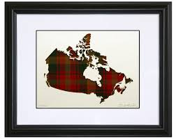 Home Decor Fabric Canada by Tartan Map Of Canada Framed Home Decor With A Historical