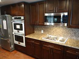 kitchen glossy white subway ceramic tiles backsplash brown