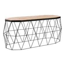 industrial designer oak dining bench black steel base timber top