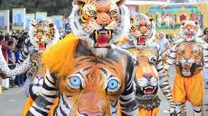 pulikali tiger dance on street youtube