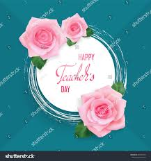 happy teachers day greeting card white stock vector 684057850