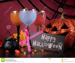 happy halloween ghoulish party cocktail drinks with greeting text