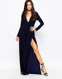 club l deep plunge maxi dress with double thigh splits in blue lyst